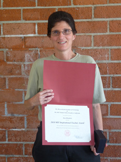 Dara Blumfield with her 2010 MIT Inspirational Teacher certificate and award
