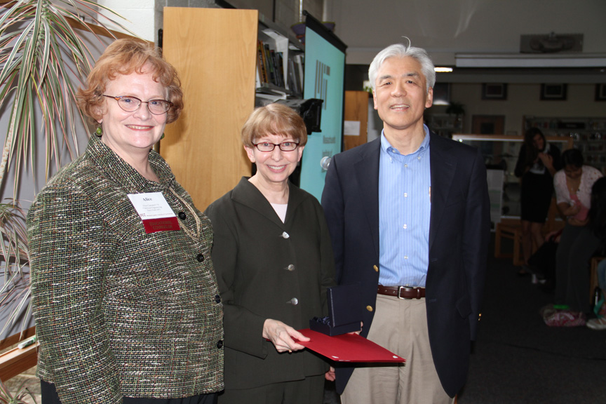 Left to right: Alice Campbell, Lois Fruen and Fred Tsuchiya celebrating Ms. Fruen's 2011 MIT Inspirational Teacher Award.  Ms. Fruen of Breck School, Minneapolis, MN was nominated for the award by MIT students Tara Mokhtari, Daniel Mokhtari, Sahar Hakim-Hashemi, Katie Creasey, and Brandon Lew.